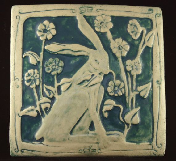 Rabbit with flowers tile. Barbara Clark. Agapanther Tiles/Etsy