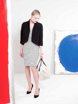 Alchymi - Černo-bílé pruhované šaty  Banded - 1