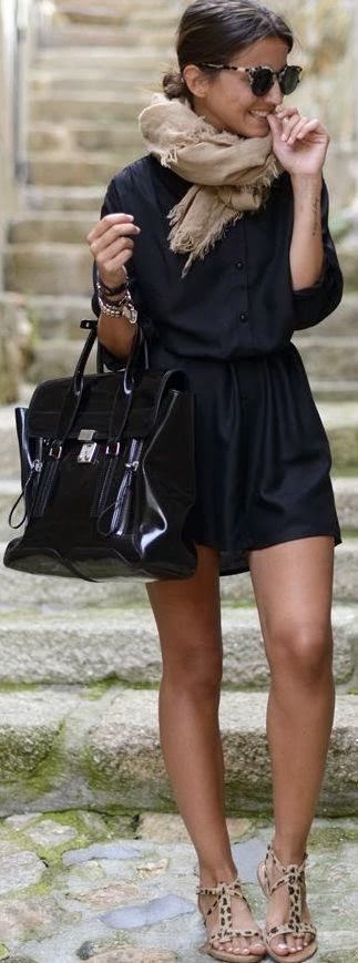 Classy Black Mini Dress And Handbag
