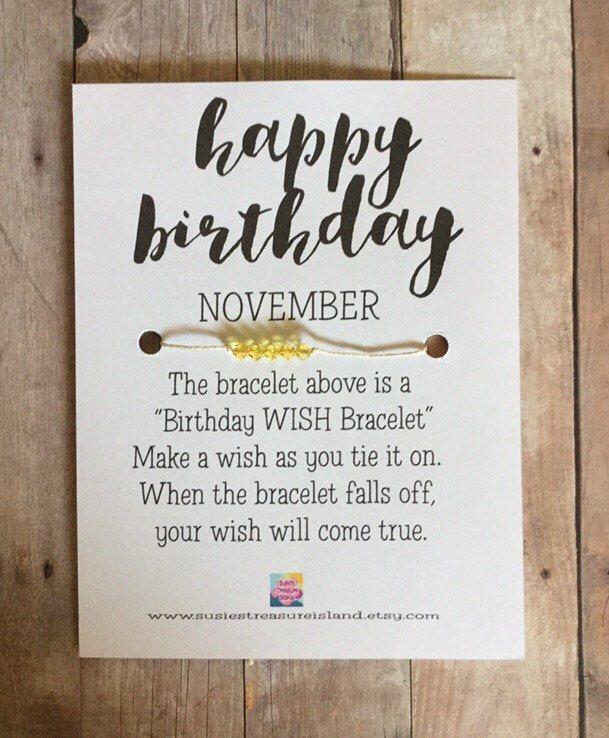 A personal favorite from my Etsy shop https://www.etsy.com/listing/277181494/november-birthday-wish-bracelet-card