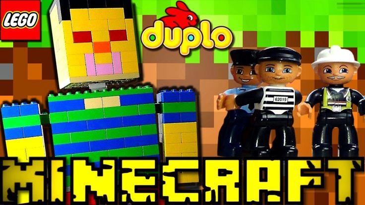 Minecraft Giant saves Lego Duplo train in Lego Duplo city Minecraft dupl...