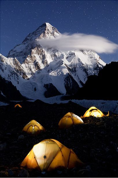 K2 Base Camp in the night, Karakorum Mountains, Pakistan (by Javier Camacho Gimeno).