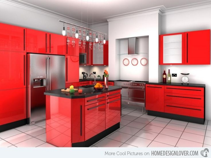 15 extremely hot red kitchen cabinets | home design lover in Red Kitchen Cabinets Red Kitchen Cabinets For Wish