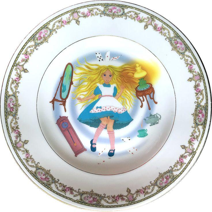 Alice in Wonderland - Falling down - Vintage Porcelain Plate - #0361 by ArtefactoStore on Etsy