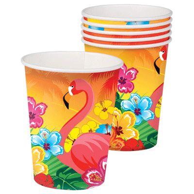 Party bekertjes hawaii 25 cl. 6 stuks kleurige party bekertjes in hawaii thema. De wegwerp bekers met hibiscus bloemen en een flamingo hebben een inhoud van ongeveer 25 cl.
