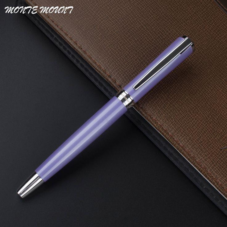 1pc/lot MONTE MOUNT Pen Roller Ball Pen Purple Pen Silver Clip Metal High Quality Office Supplies