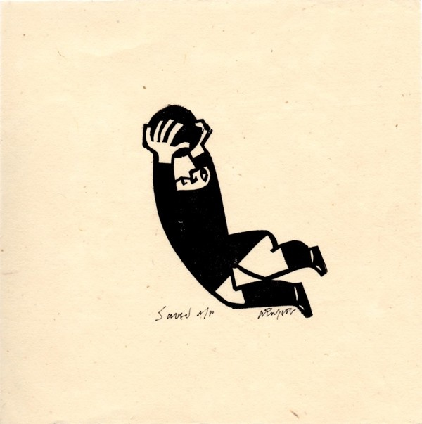 Saved  Willie Rodger  Lino cut print