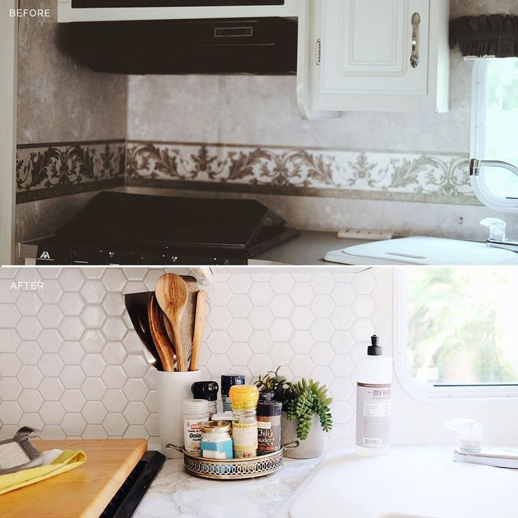 A simple peel and stick backsplash can completely transform a tiny RV or trailer kitchen or bathroom.