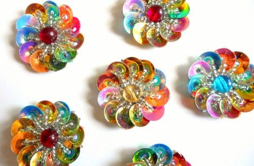 ?Maybe do something similar with medicine vial tops from work? Sew on Beaded Floral Applique.Iridescent Cup Sequin Applique Flower 3D | folkstrokesupplies - Floral on ArtFire
