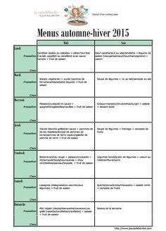 planning de menu pour la saison automne et hiver