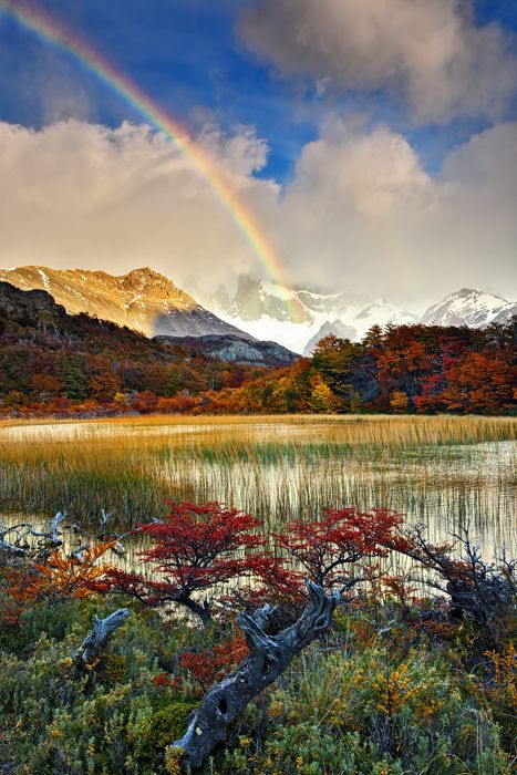 Rainbow over Patagonia, Argentina in the fall.