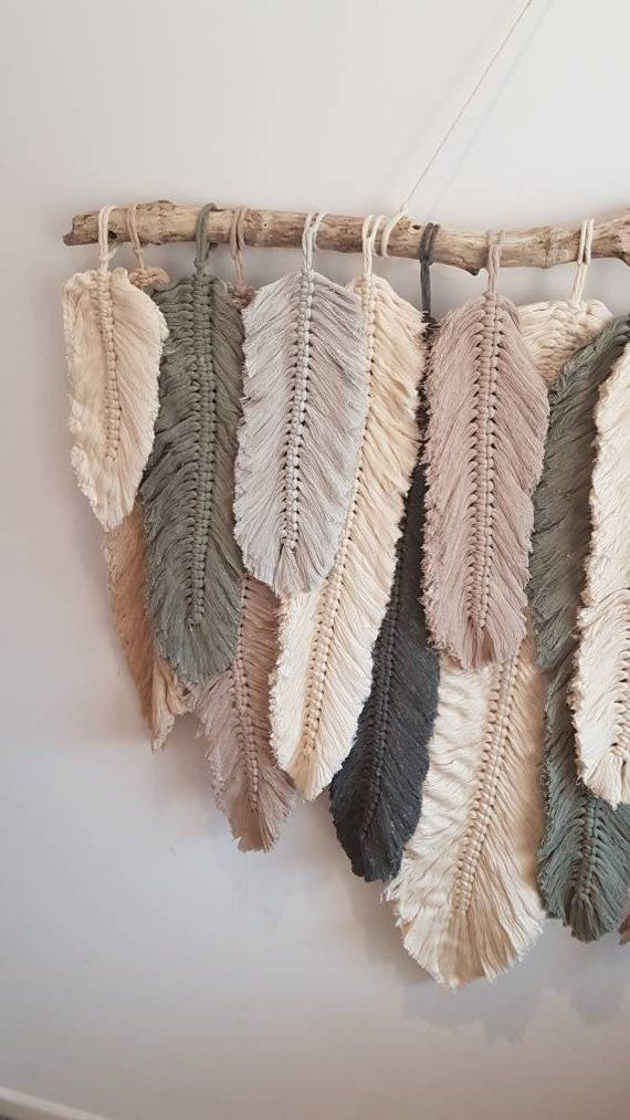 Feather Wall Macrame Hanging Macrame Feather Wall Macrame Hanging Etsy In 2020 Macrame Wall Hanging Diy Macrame Wall Art Feather Diy