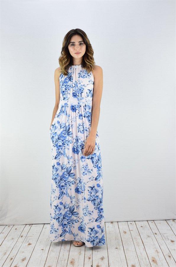 Halter Maxi Dress With Pockets | S-XL