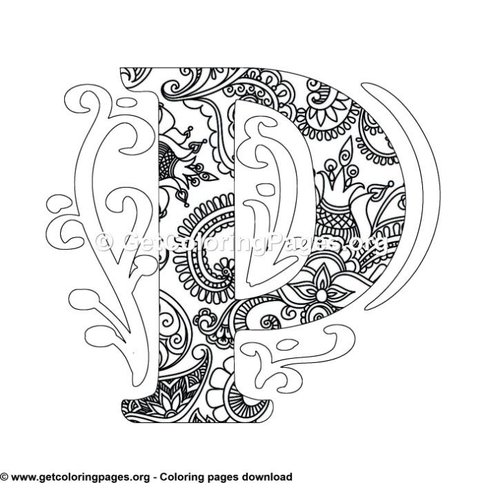 Zentangle Monogram Alphabet Letter P Coloring Sheet Mandala Coloring Pages Pattern Coloring Pages Owl Coloring Pages
