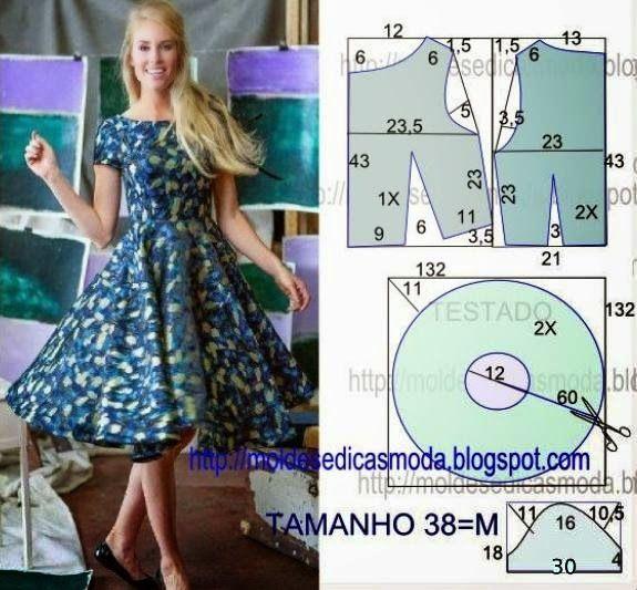 (Step-by-Step dress, make your own pattern.  In PORTUGUESE) PASSO A PASSO MOLDE DE VESTIDO Corte um retângulo de tecido com a altura e largura que pretende para as costas e frentes. Dobre ao meio o retângulo. Desenh