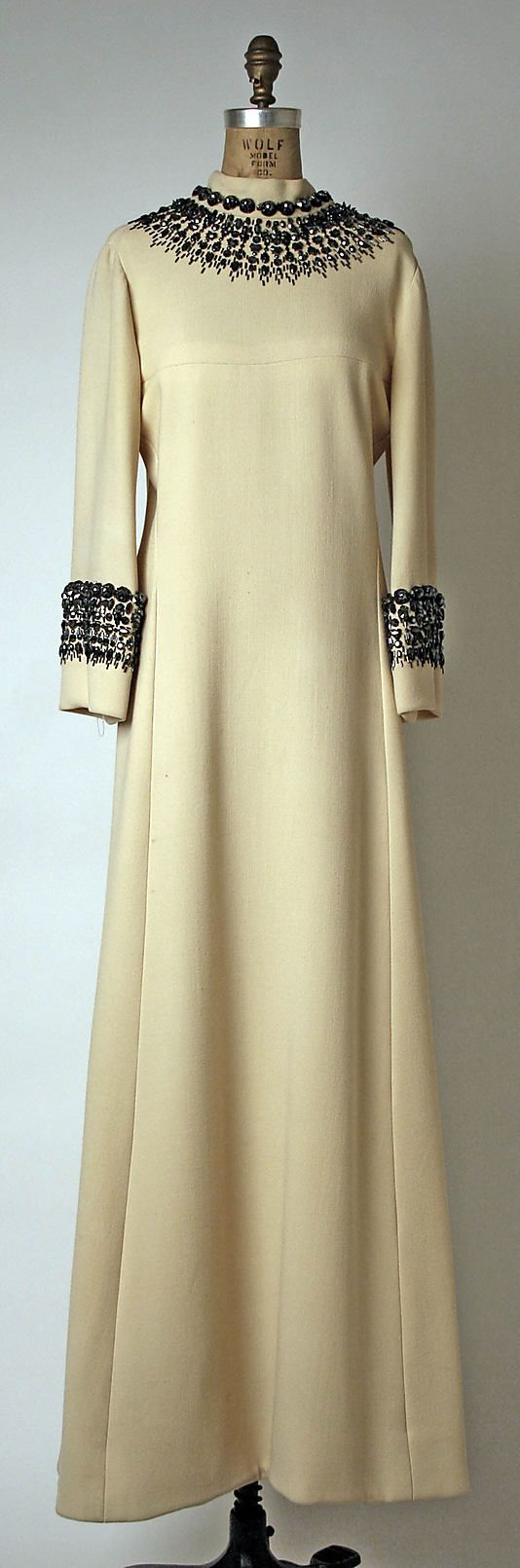 1966 Evening dress by House of Balmain.  Worn by Katharine Graham to Truman Capote's Black and White Ball given in her honor.