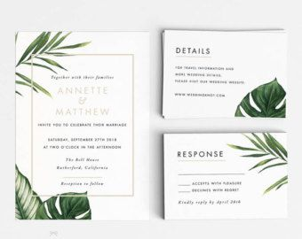 Modern Botanical Wedding Invitation Suite Wedding by INKKprint