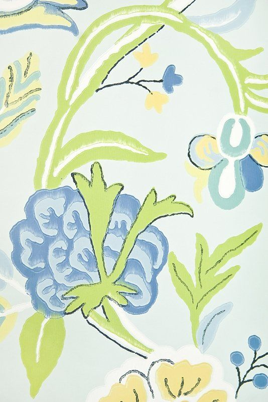 Cayman Floral Wallpaper Pale Blue wallpaper with exotic floral print in greens and blues.