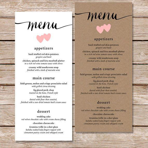 Druckbare Hochzeitsmenü / Kalligraphie Hochzeit Menü von paperhive