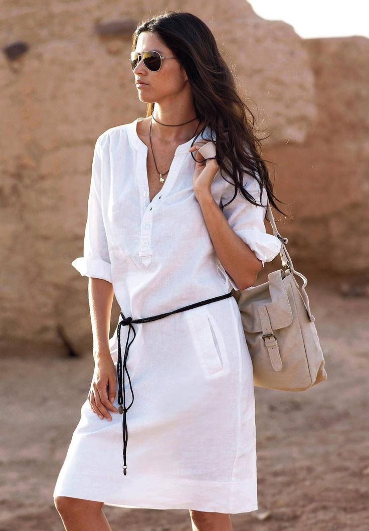 Plus Size Belted Linen Blend Shift Dress image