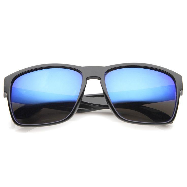 Action Sport Modern Frame Mirrored Lens Rectangle Sunglasses 59mm  #mirrored #sunglasses #sunglass #frame #bold #oversized #summer #purple #sunglassla #cateye