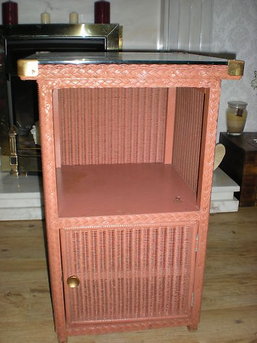 Vintage Lloyd Loom Lusty Bedside Cabinet Wicker With