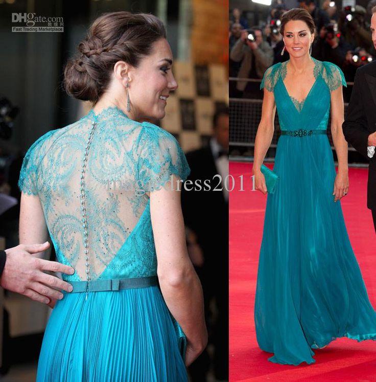 Wholesale Evening Gowns - Buy 2013 Celebrity Dress Kate Middleton Sheer Lace Back Charming Evening Dresses A-Line V-Neck Blue Chiffon Lace S...