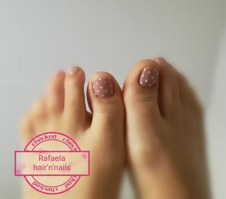 Pedicure, nude nails, polka dots
