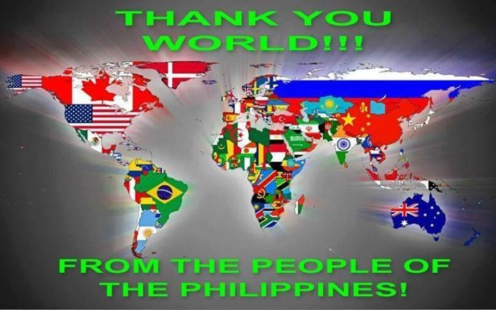 We, the Filipinos would like to thank you to the whole universe, for your help and support for our fellow filipinos affected the typhoon Yolanda. May God almighty bless you all!