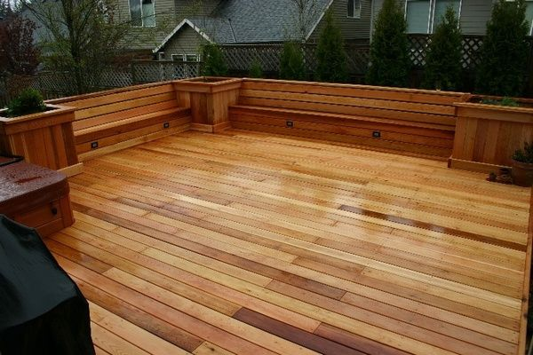Deck benches with built-in lighting
