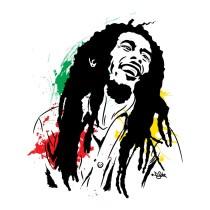 ilustracion de Bob Marley, realizado en Illustrator para impresioón de playeras © 2013