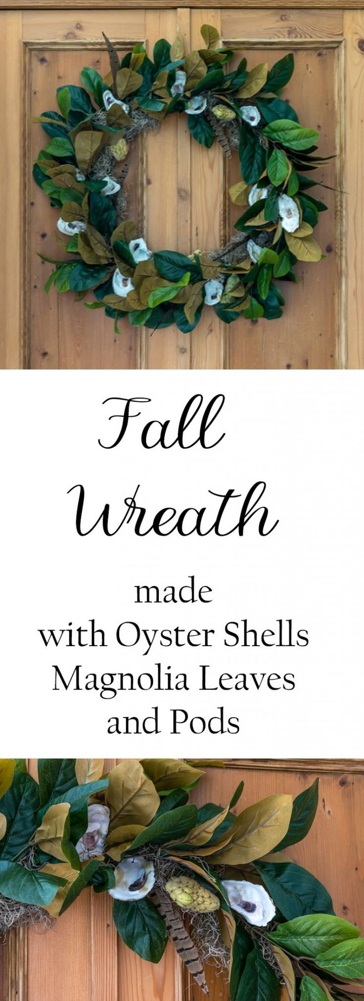 Illustrated instructions to make a fall wreath using oysters, magnolia leaves, m...