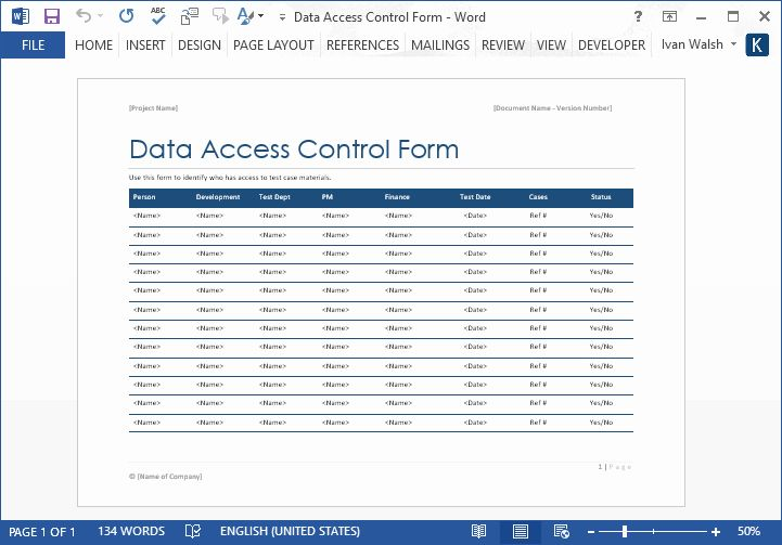 User Access Request Form Template Best Of Data Access Control Form