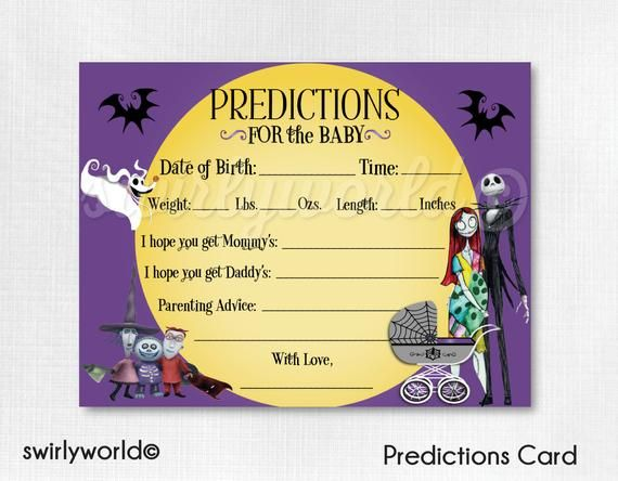 Nightmare Before Christmas Baby Shower Prediction Cards Etsy In 2020 Christmas Baby Shower Invites Christmas Baby Shower Baby Shower Prediction Cards