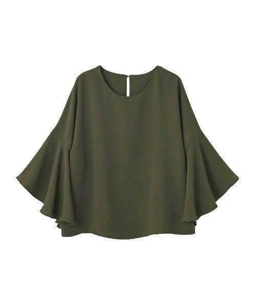 STYLE DELI(スタイルデリ)の【LUXE】厚地ジョーゼットフレア袖ブラウス(Tシャツ/カットソー)|カーキ