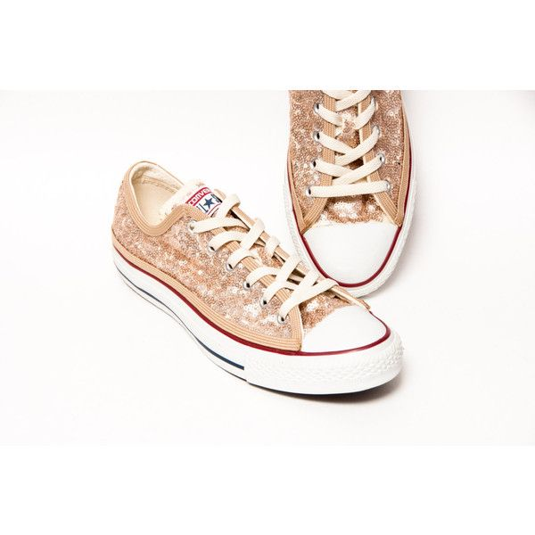 sequin chagne gold converse canvas low top sneakers