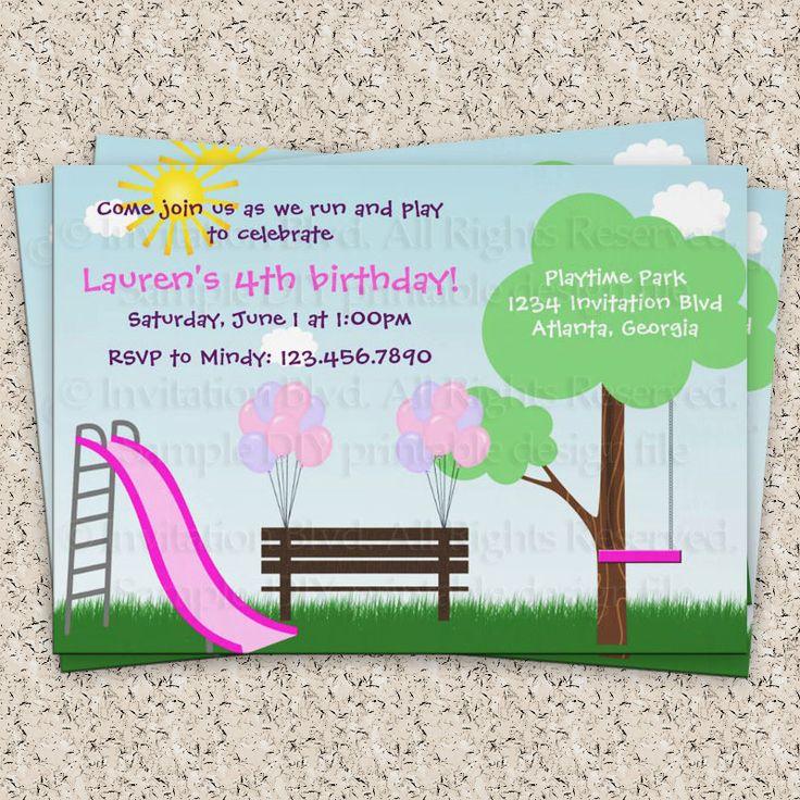 Kids Park Invitation - Playground Invitation - Park Birthday Party - Playground Birthday Party - Party Printable DIY Invitation. $7.00, via Etsy.