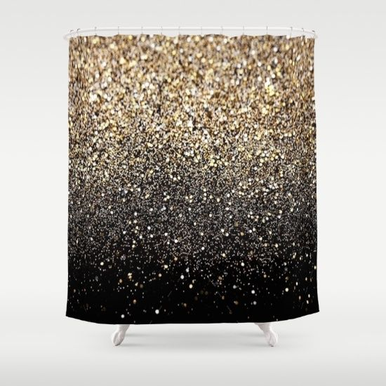 black u0026 gold sparkle shower curtain