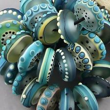 Magma Beads, Ultramarine Disks; Handmade Lampwork