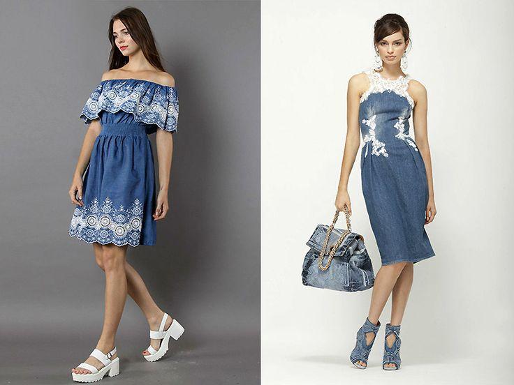 Джинсовое платье с кружевом: актуальная, практичная вещь