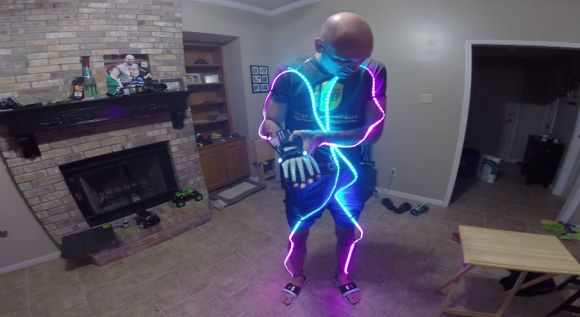 Prototype LED Light Suit runs off of a NES Power Glove