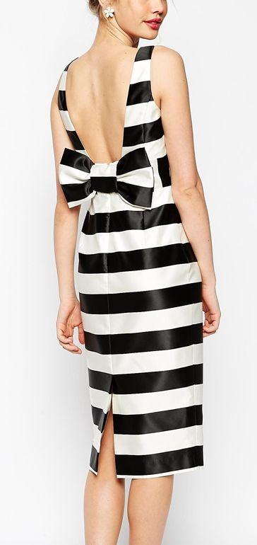 striped bow pwncil dress
