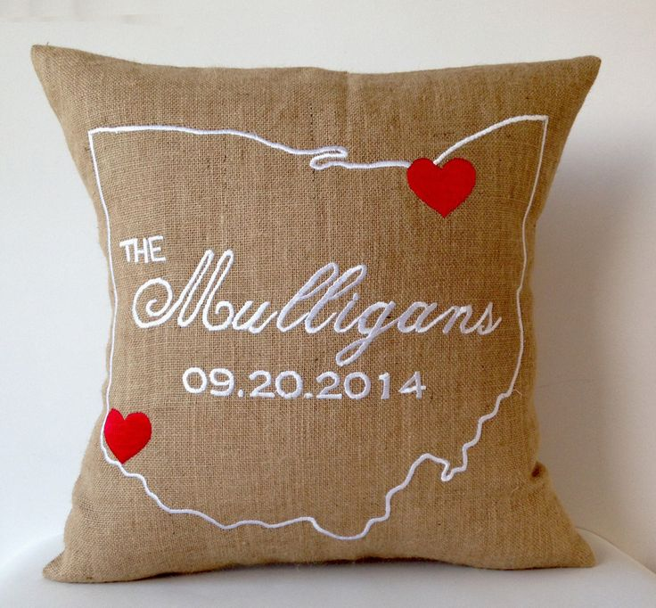 Burlap Pillow Case State Embroidery Personalized Pillow Burlap Cushion