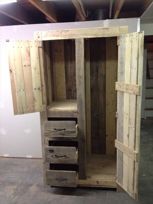 Someone challenged me and said you could never make a wardrobe unit our of pallets. So I thought about it and said, No I can make one out o...