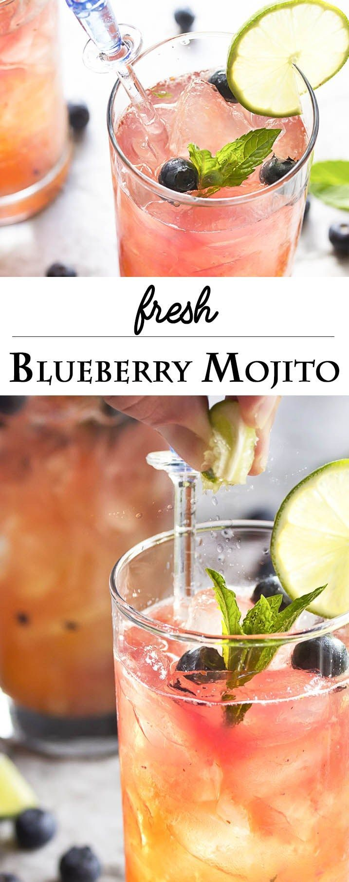 Fresh Blueberry Mojito - This blueberry mojito is full of fresh blueberry and mint flavor, and is an easy and refreshing summer drink perfect for sipping out of a straw. Great for cookouts or a warm evening on your deck! | http://justalittlebitofbacon.com