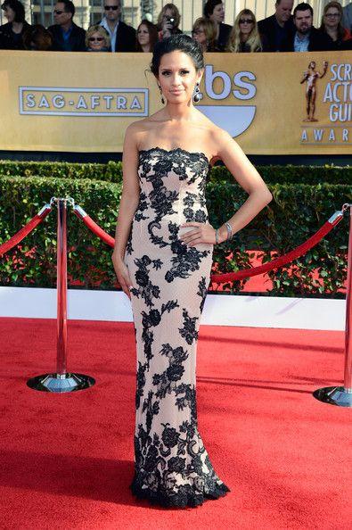 Rocsi Diaz Wore a Black and Cream Lace Dress at the 2013 SAG Awards