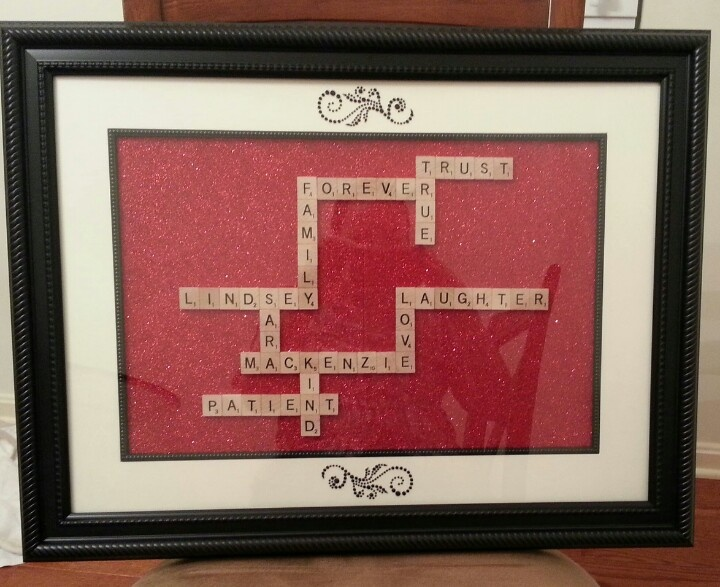 Picture frame with scrapbook paper and embellishments w for Decoration or embellishment crossword