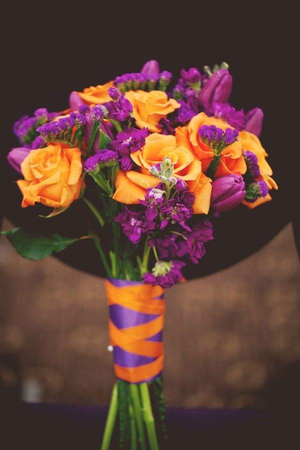 cute dark purple and orange bridal bouquets for a summer wedding