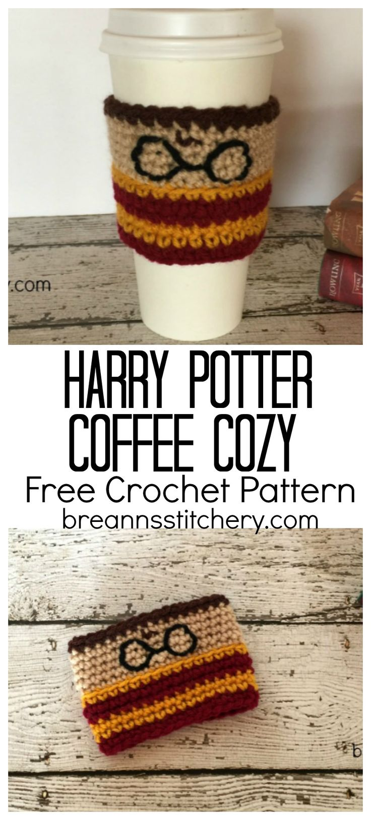 Are you a Harry Potter fan? Know someone who is? Then this pattern is for you! Make this Harry Potter cup cozy for the HP fan in your life. This pattern is available as an inexpensive, clearly formatted, PDF instant download HERE in my Etsy shop. PATTERN Materials: I used Red Heart Super Saver in Gold, Ranch Red, Brown, Buff, and Black Hook size 4.5 mm (G) Yarn needle Scissors Level: Easy to moderate Stitches to know: Sl st— slip stitch Ch – chain Sc – single crochet Sc blo – single crochet…