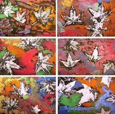 Leaf print art project This would be so easy, even for the little kids! Paint bright colors first, then use white paint for leaf prints.